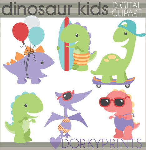 Summer Fun Dino Animals Clipart