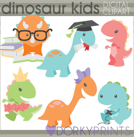 School Fun Dino Animals Clipart