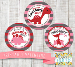 """You're Dino-mite"" Valentine Circle Tags Holiday Printables"