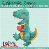 Dinosaur Valentine's Day Watercolor PNG