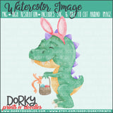 Easter DinoBunny Watercolor PNG