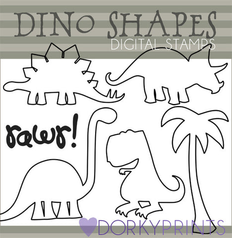 Dinosaur Shapes Blackline Animals Clipart