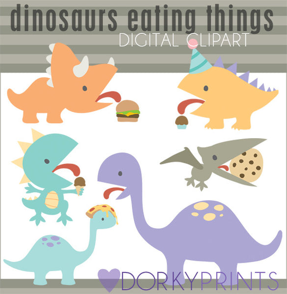 Dinosaurs with Food Animals Clipart