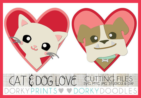Dog and Kitty in Hearts Valentine SVG Cuttable Files