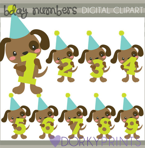 Dog Numbers Birthday Clipart