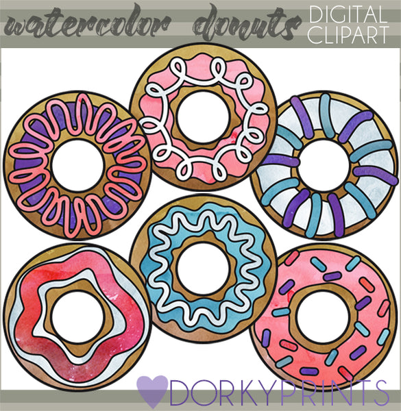 Donut Watercolor Food Clipart