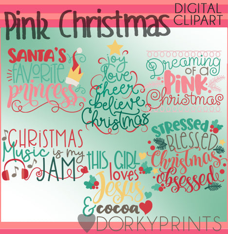 Dreaming of a Pink Christmas Wordart Christmas Clipart