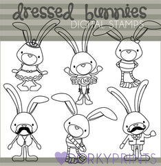 Dressed Bunnies Black Line Spring Clipart