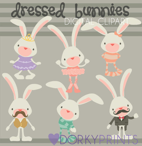 Dressed Bunnies Spring Clipart