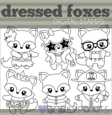 Dressed Fox Black Line Animals Clipart