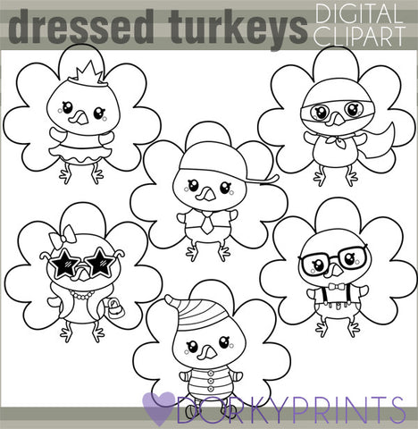 Dressed Turkeys Black Line Thanksgiving Clipart