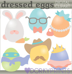Dressed Up Eggs Spring Clipart