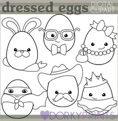 Dressed Up Eggs Black Line Spring Clipart