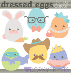 Dressed Up Eggs with Eyes Spring Clipart