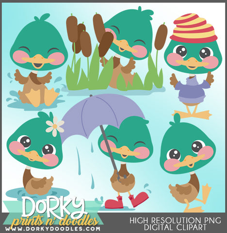Cute Duck Animals Clipart