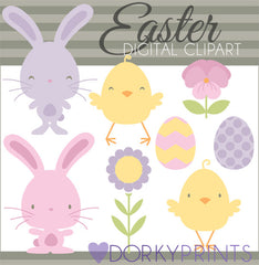 Colored Easter Bunnies Spring Clipart