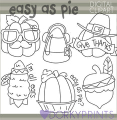 Blackline Pumpkin Pie Thanksgiving Clipart