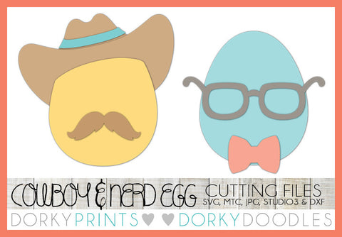Easter Egg Cowboy and Nerd SVG Cuttable Files