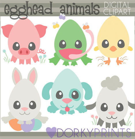Egghead Animals Spring Clipart
