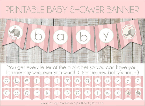Pink Elephant Banner Baby Shower Printables