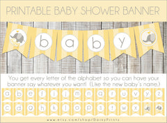Yellow Elephant Banner Baby Shower Printables
