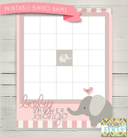 Pink Elephant Bingo Game Baby Shower Printables