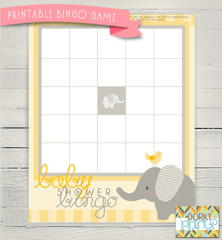 Yellow Elephant Bingo Game Baby Shower Printables