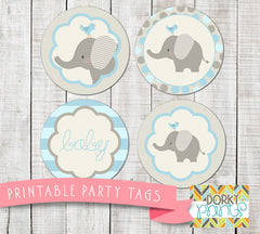 Blue Elephant Circle Tags Baby Shower Printables