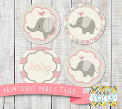Pink Elephant Circle Tags Baby Shower Printables