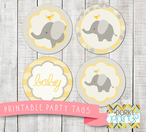 Yellow Elephant Circle Tags Baby Shower Printables