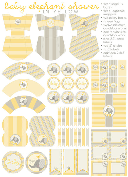 Yellow Elephant Baby Shower Printables