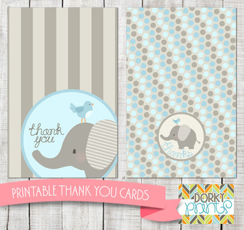Blue Elephant Thank You Cards Baby Shower Printables