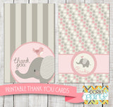 Pink Elephant Thank You Cards Baby Shower Printables