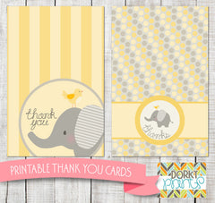 Yellow Elephant Thank You Cards Baby Shower Printables