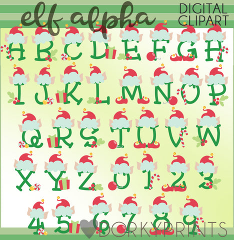 Christmas Elf Font and Symbols Clipart