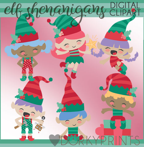Elf Shenanigans Christmas Clipart