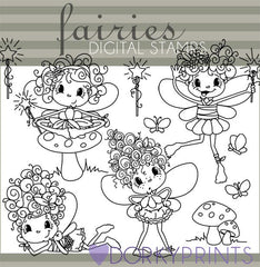 Fairy Blackline Character Clipart
