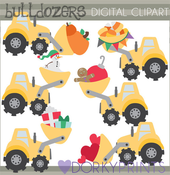 Fall and Winter Bulldozer Christmas Clipart