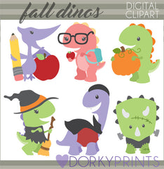Back to School and Halloween Dino Animals Clipart