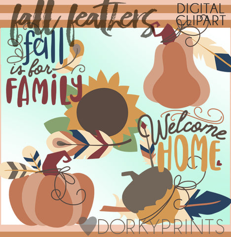 Fall Feathers Thanksgiving Clipart