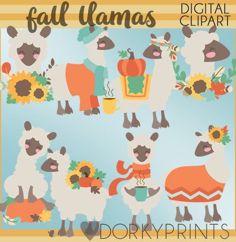 Fall Llamas Thanksgiving Clipart