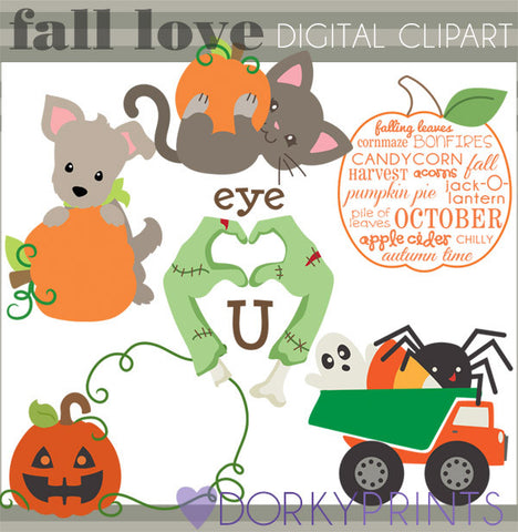 Fall Love Halloween Clipart