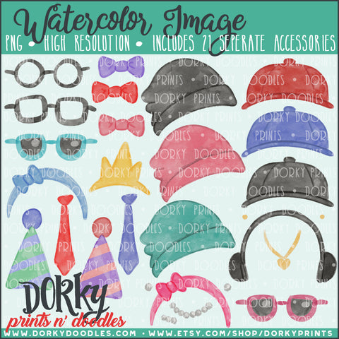 Family Character Accessories Watercolor PNG