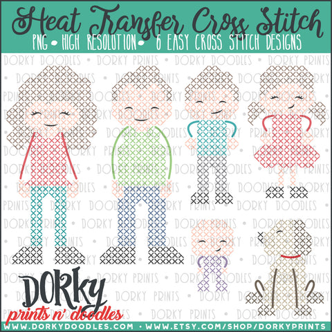 Family Cross Stitch Heat Transfer Design