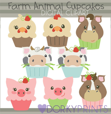 Farm Cupcakes Animals Clipart