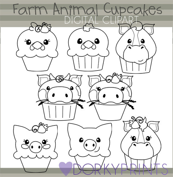 Farm Cupcakes Black Line Animals Clipart