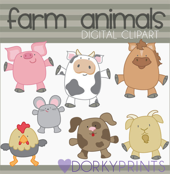 Chubby Farm Animals Clipart