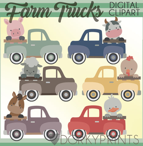 Vintage Trucks and Farm Animals Clipart