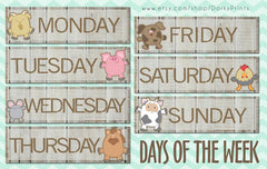 Days of the Week Farm Animals Learning Printables