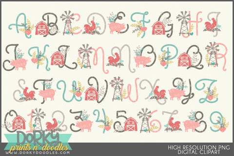 Farmhouse Font and Symbols Clipart